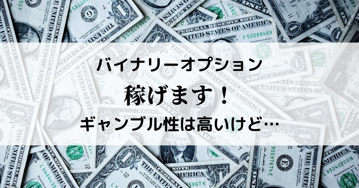 バイナリーオプションはギャンブル性の高い投資です。が、稼げます。